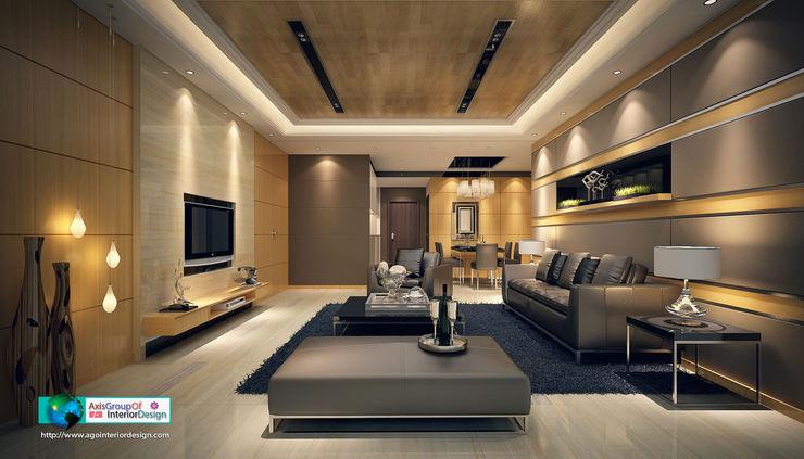 Axis Group Of Interior Design Livings de estilo asiático Amarillo