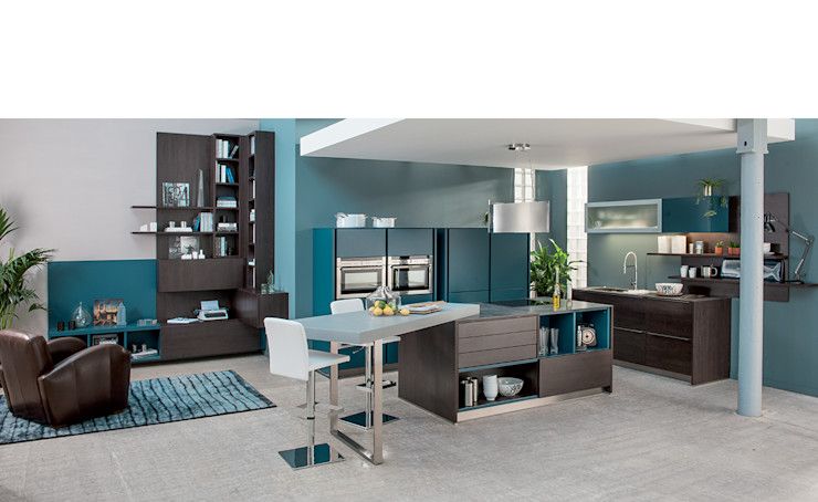 Wood effect open plan kitchen with island Schmidt Kitchens Barnet Modern Kitchen MDF Wood effect