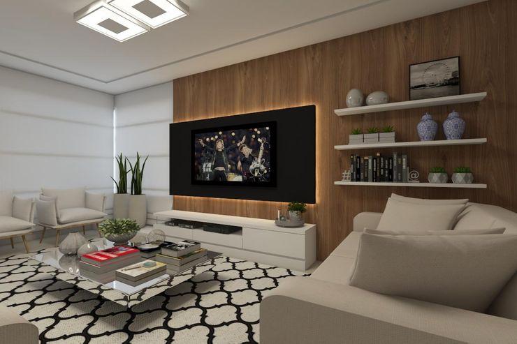 Sala de TV Barbara Lourenci Arquitetura e Interiores Salas multimídia modernas