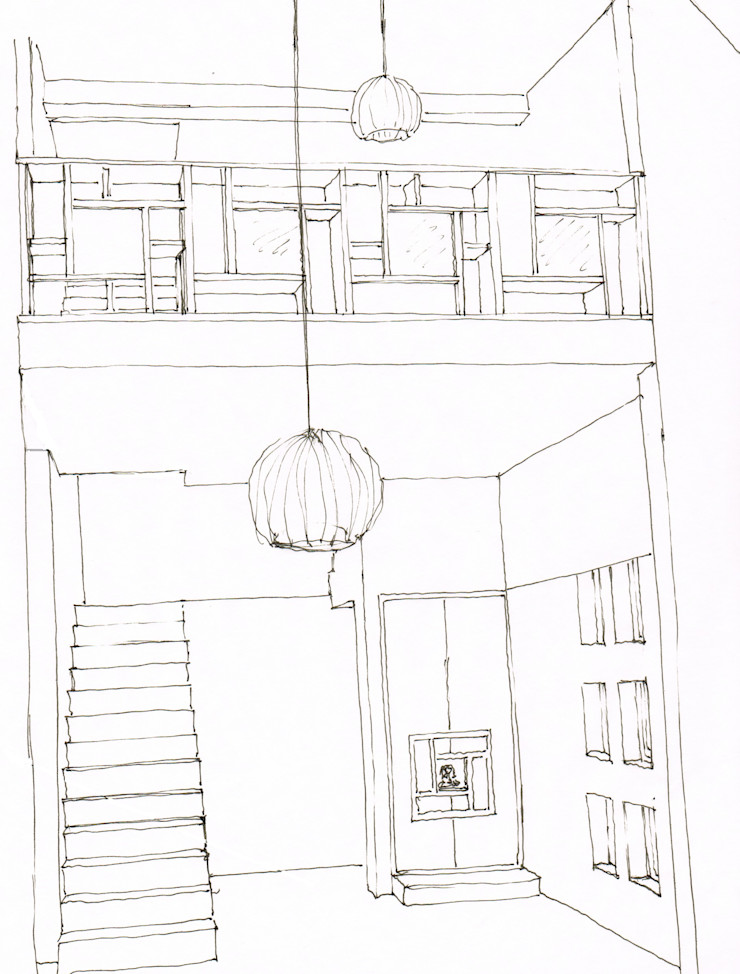 A3 Ateliê Academia de Arquitectura Asian style corridor, hallway & stairs