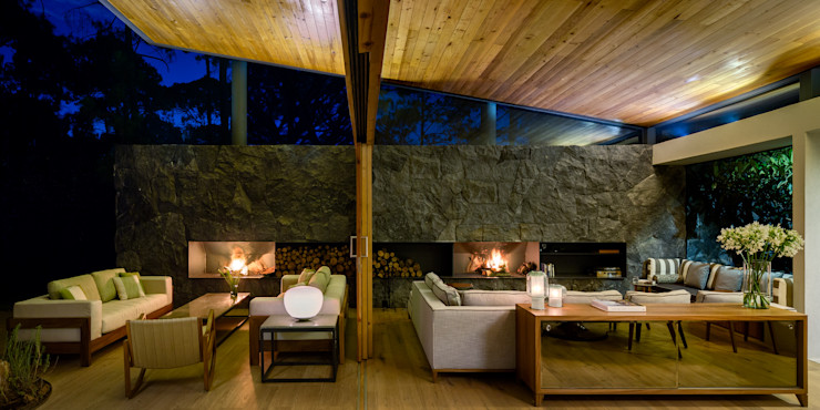 Sala y terraza - Casa 5 Weber Arquitectos Salones de estilo rural