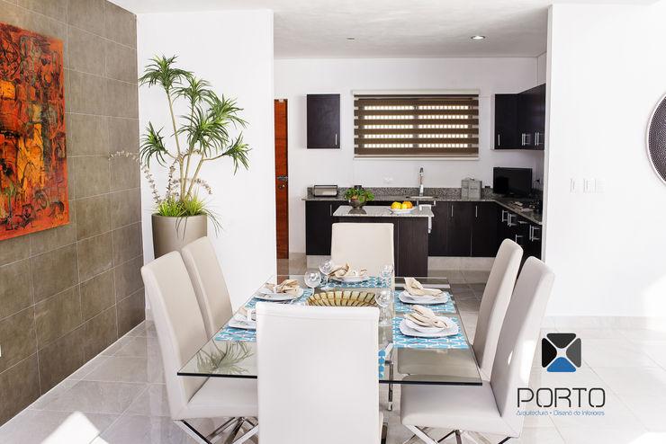PORTO Arquitectura + Diseño de Interiores Sala da pranzo moderna