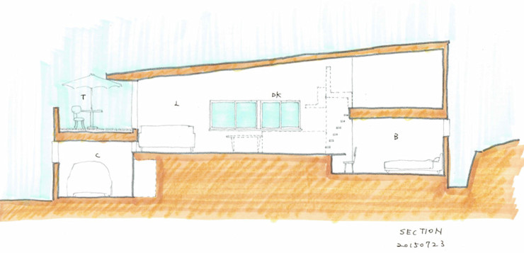 五十嵐の家03/高低差のある家 加藤淳一級建築士事務所 モダンな 家