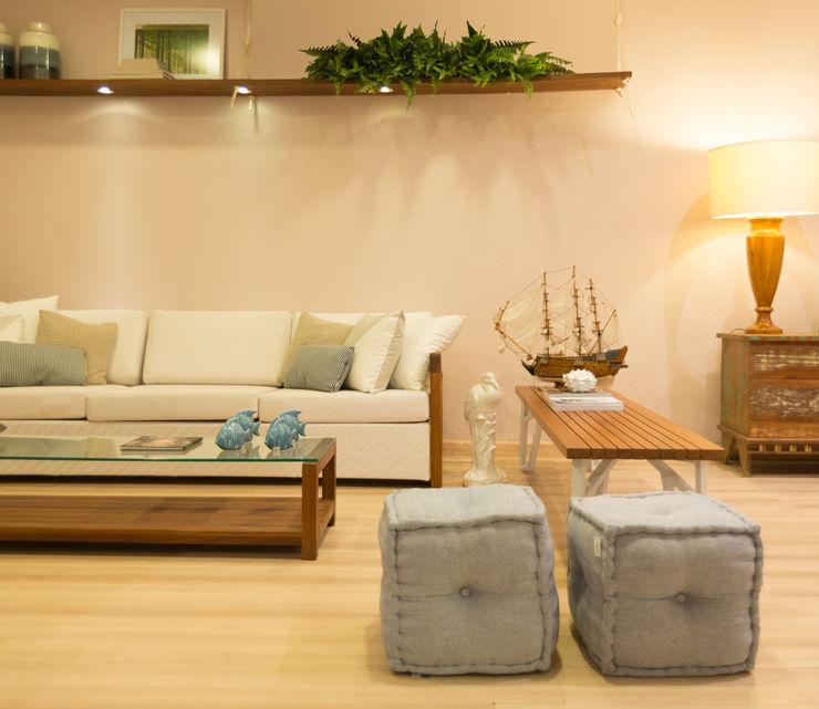 Duo Arquitetura Ruang Keluarga Tropis Parket Beige