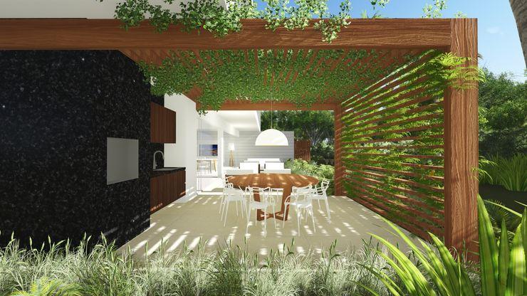 Casa PO Renata Matos Arquitetura & Business Varandas, alpendres e terraços modernos Madeira Multi colorido