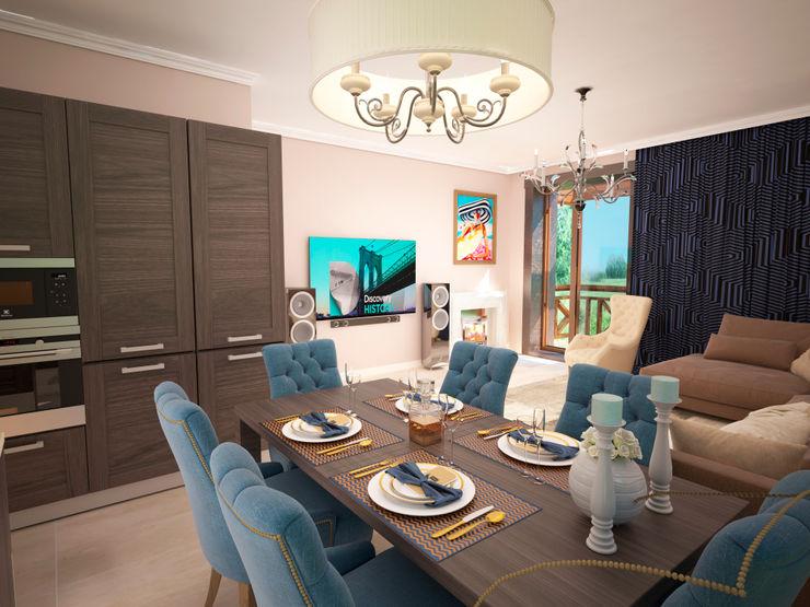 Гурьянова Наталья 現代廚房設計點子、靈感&圖片 木頭 Blue