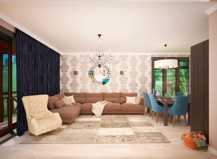 Гурьянова Наталья 现代客厅設計點子、靈感 & 圖片 MDF White