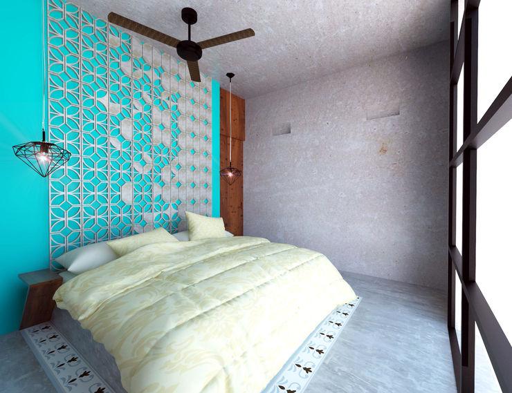 Habitación tipo homify Dormitorios rústicos Hormigón Beige
