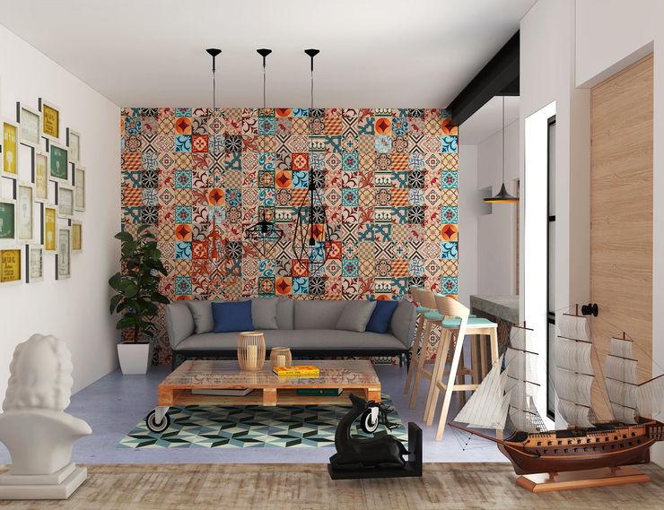 Estudio TR Hipercubo Arquitectura Salones de estilo colonial Hormigón Marrón