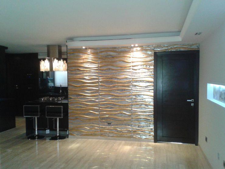 SALÓN SOCIAL CelyGarciArquitectos Salas de estilo minimalista Derivados de madera Ámbar/Dorado