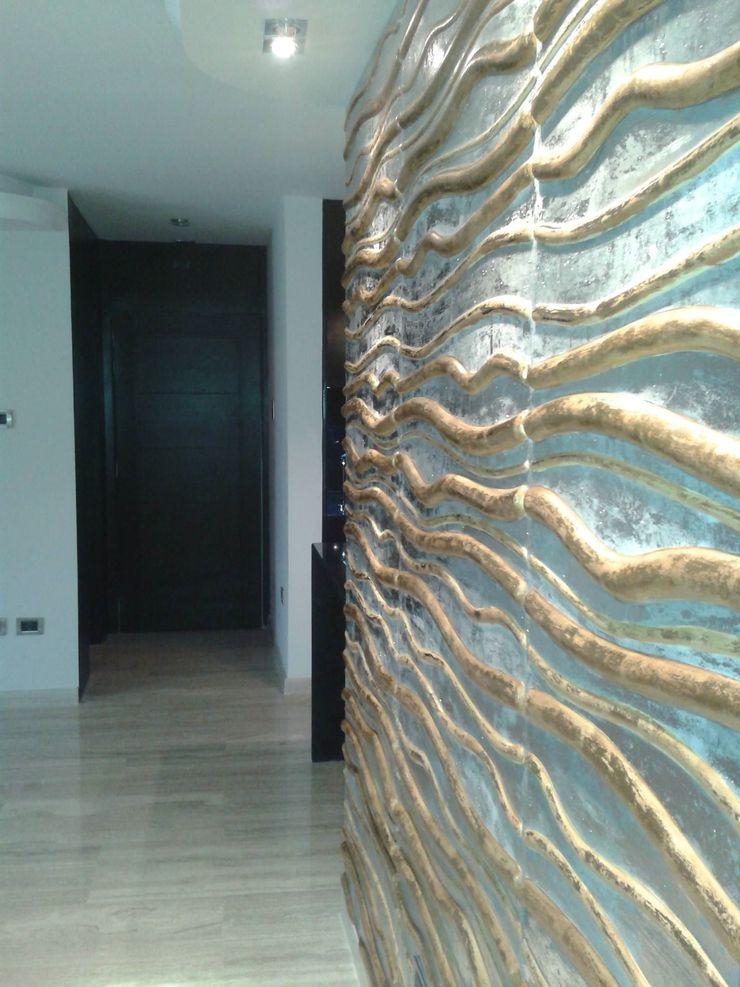 DETALLE 3D EN ACCESO CelyGarciArquitectos Salas de estilo minimalista Derivados de madera Metálico/Plateado