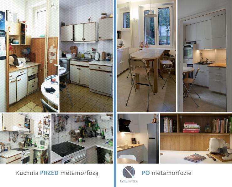 Przed i po - Metamorfoza DoMilimetra Minimalistyczna kuchnia Drewno Biały
