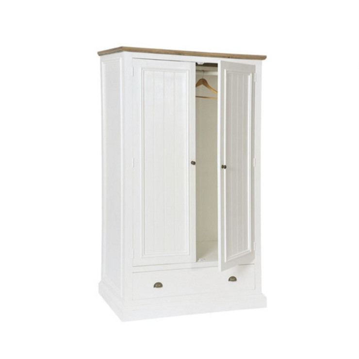 Savannah Reclaimed Wood Wardrobe with Drawers Modish Living BedroomWardrobes & closets Wood White
