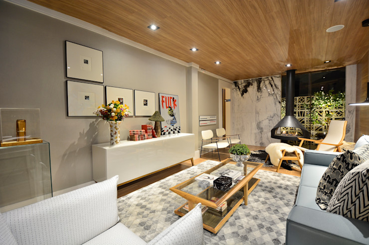Johnny Thomsen Arquitetura e Design Salon scandinave Bois Effet bois