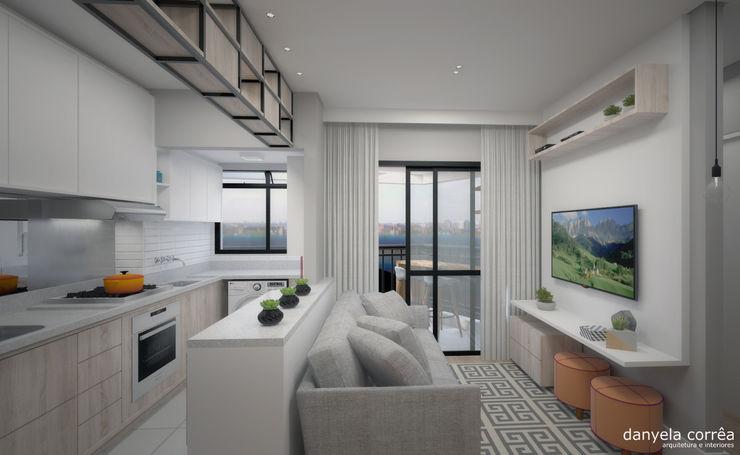 Sala de estar, jantar e cozinha integrados Danyela Corrêa Arquitetura Salas de estar modernas MDF Cinza