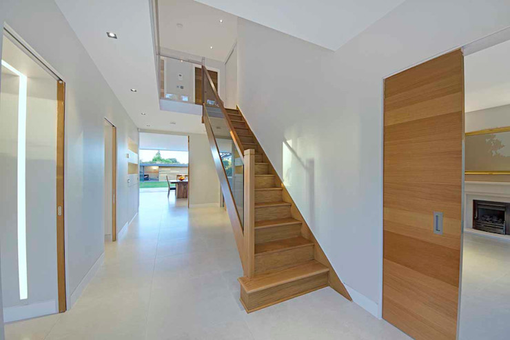 Hadley Wood—North London New Images Architects Modern corridor, hallway & stairs