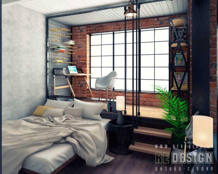 Студия дизайна интерьера 'REDESIGN' Industrial style bedroom Bricks Brown