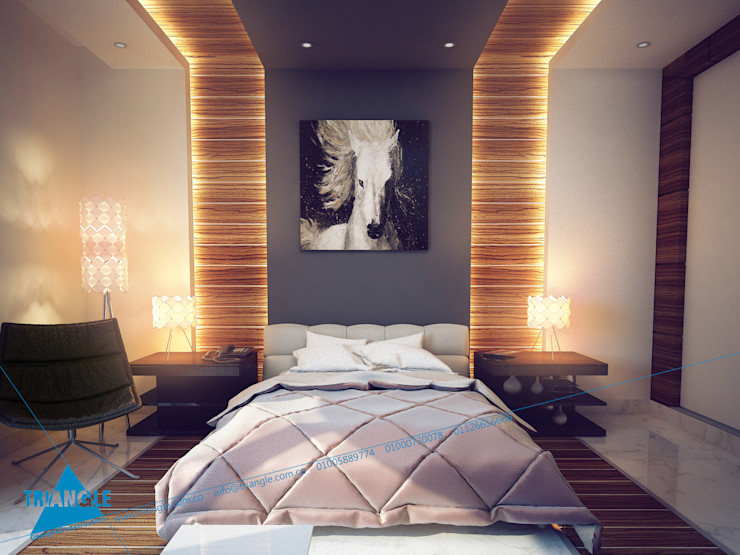 triangle Modern style bedroom Wood effect