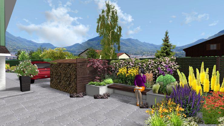 Jardin sinueux Anthemis Bureau d'Etude Paysage Balcon, Veranda & Terrasse modernes