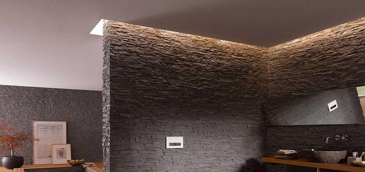 Destaca la elegancia y el diseño de tus espacios en toda su expresión con TotalStone. FORMICA Venezuela Baños rústicos Negro