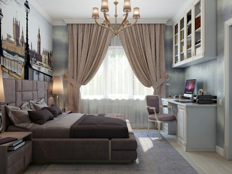 Студия дизайна Дарьи Одарюк Eclectic style bedroom Multicolored