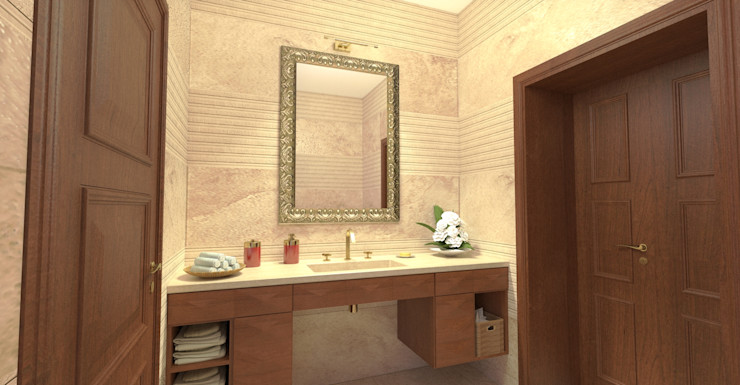 Vista della parete lavabo - View of the handbasin Planet G Bagno moderno Marmo Beige