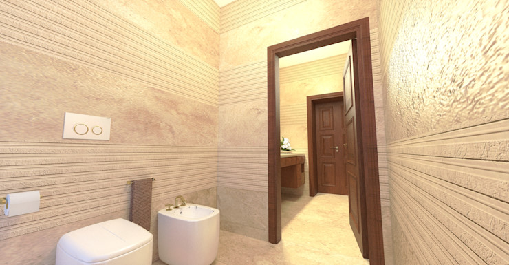 Vista dal bagno - View from the bathroom Planet G Bagno moderno Marmo Beige