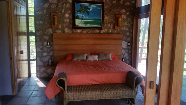 Cervantes Bueno arquitectura Rustic style bedroom Stone Wood effect