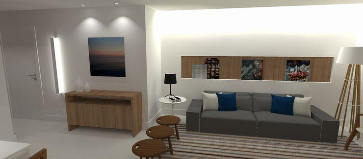 Carolina Mendonça Projetos de Arquitetura e Interiores LTDA Гостиная в стиле модерн