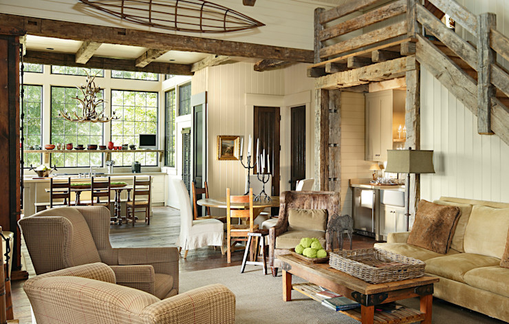 Jeffrey Dungan Architects Living room Wood Beige