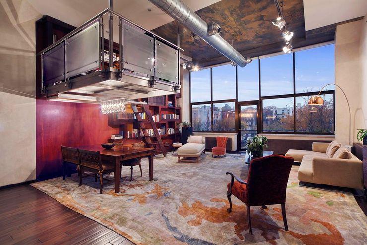 Brooklyn Loft - Living Room Joe Ginsberg Design Modern Living Room Multicolored