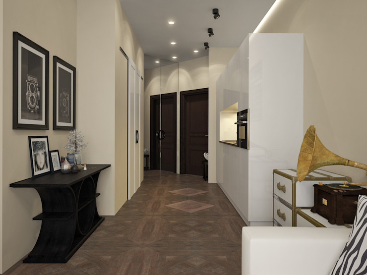 townhouse in modern style Rubleva Design Modern Corridor, Hallway and Staircase
