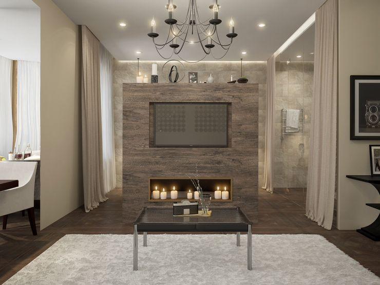 townhouse in modern style Rubleva Design Modern Living Room