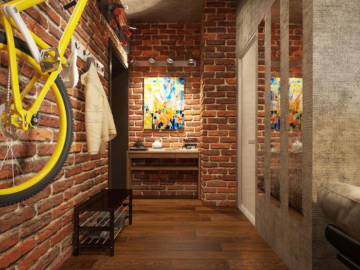 Studio in loft style Rubleva Design industrial style corridor, hallway & stairs