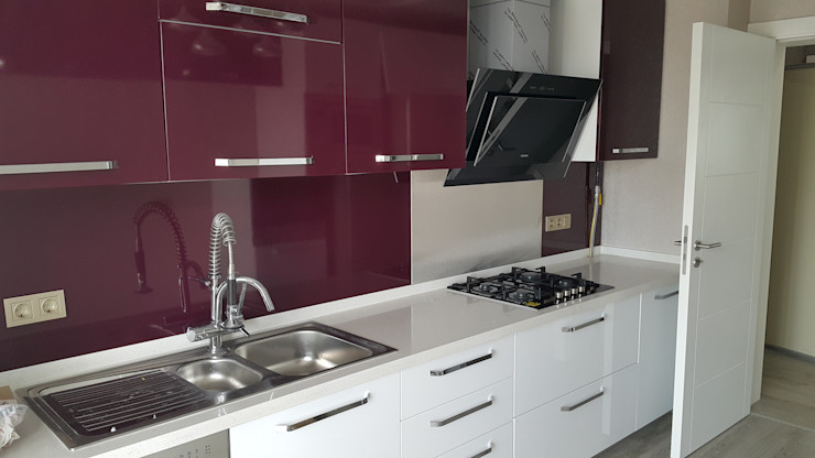 mutfak dolabı polimeric laminant homify Modern Mutfak Ahşap Mor