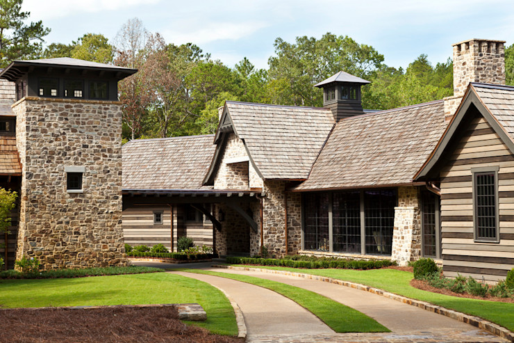 Jeffrey Dungan Architects Rustic style houses Stone Green