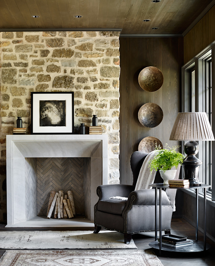 Jeffrey Dungan Architects Rustic style living room Wood Beige