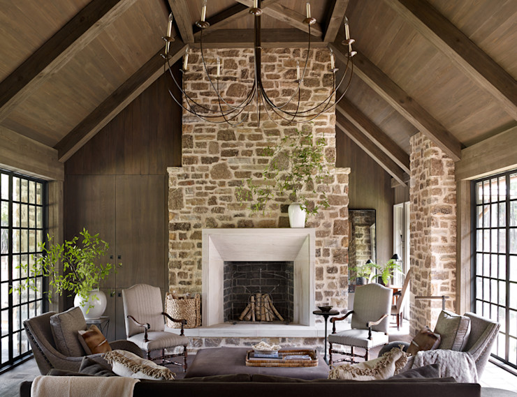 Jeffrey Dungan Architects Rustic style living room Stone Brown