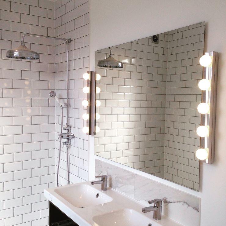Rock star ensuite bathroom My-Studio Ltd Industrial style bathroom Tiles White