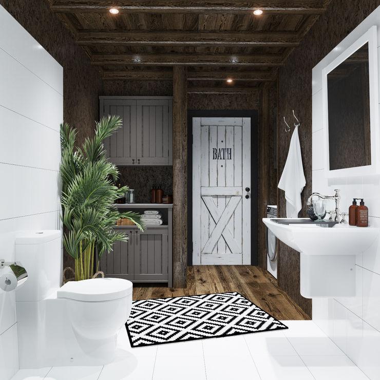 Home in the Woods Bagno in stile scandinavo Legno Bianco
