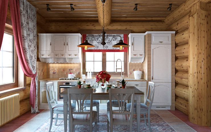 rudakova.ru Rustic style kitchen Engineered Wood Wood effect