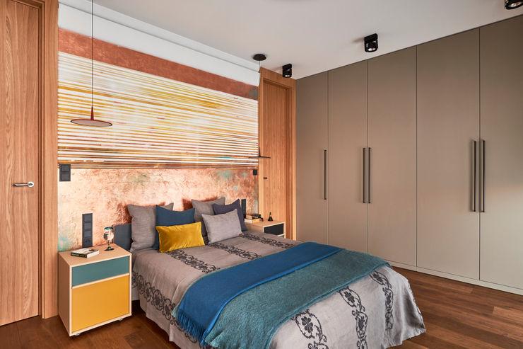 Pracownia Projektowa Hanna Kłyk Modern Bedroom Copper/Bronze/Brass Amber/Gold