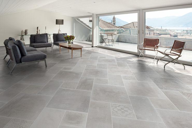 Gres effetto cemento bianco - AT 1001 ItalianGres Soggiorno in stile industriale