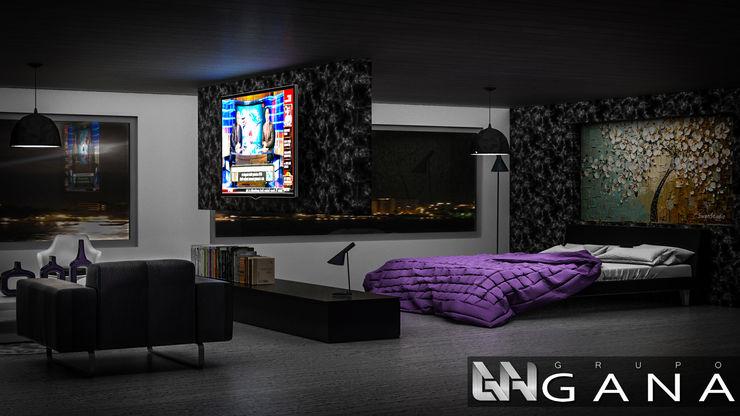 Grupo GANA, C.A. Modern style bedroom Granite Black