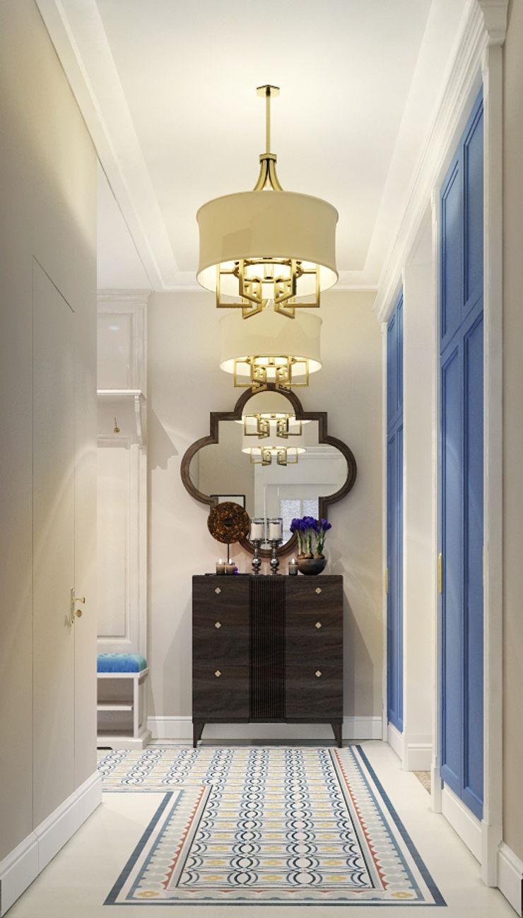 Vera Rybchenko Eclectic style corridor, hallway & stairs Blue
