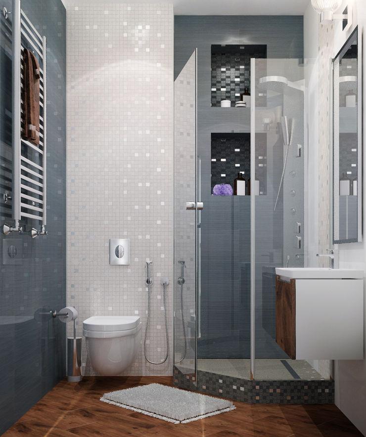 Vera Rybchenko Minimalist style bathroom Glass Grey