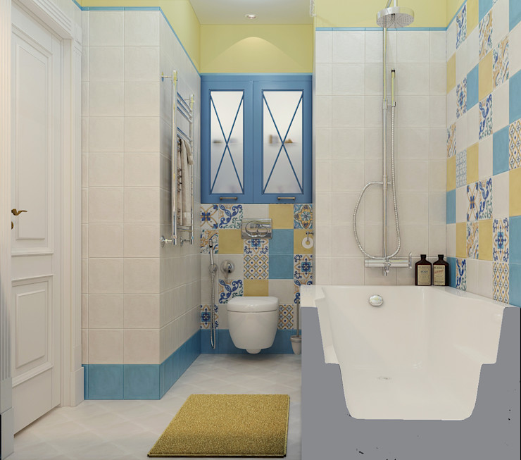 Vera Rybchenko Mediterranean style bathrooms Ceramic Yellow
