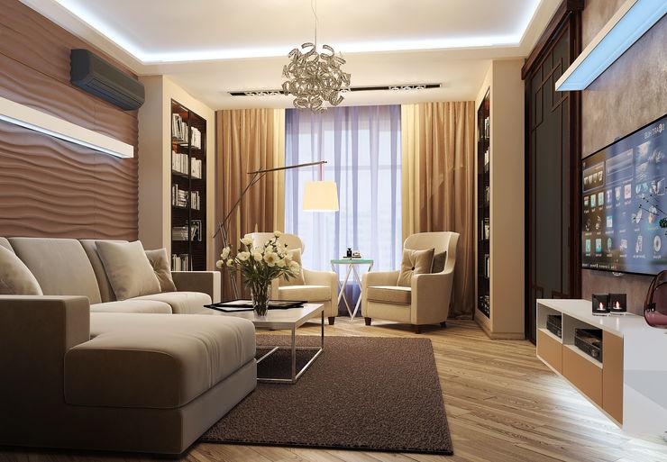 Vera Rybchenko Modern Living Room Beige