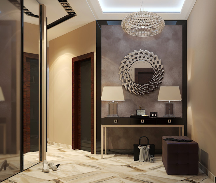 Vera Rybchenko Modern Corridor, Hallway and Staircase Beige