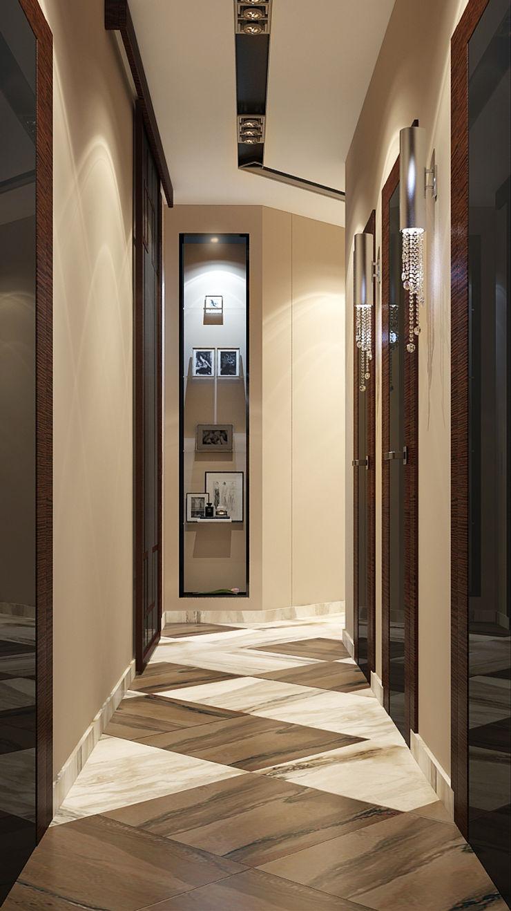 Vera Rybchenko Modern Corridor, Hallway and Staircase Brown